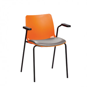 Neptune Visitor Chair with Arms and Black Intervene Material Upholstered Seat Pad