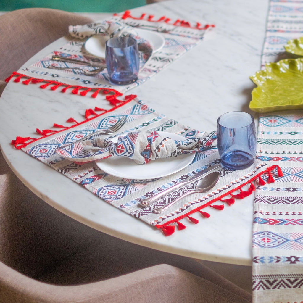 Jacquard Fringe Placemats 4pc. Set