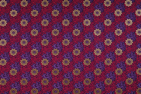 Indian Print Gold Flower Stamp Pink Purple