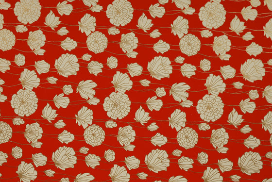 Indian Print Field Poppies Cream on Red