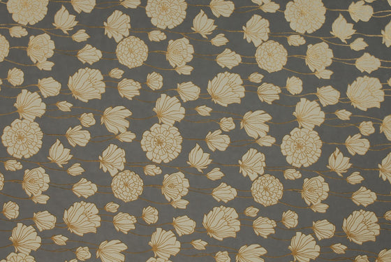 Indian Print Field Poppies Cream on Grey