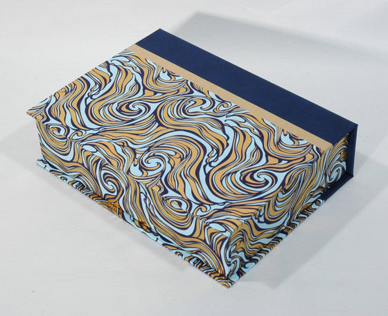 Box Hinged Lid Small - Letterpress Marble Azure & Gold
