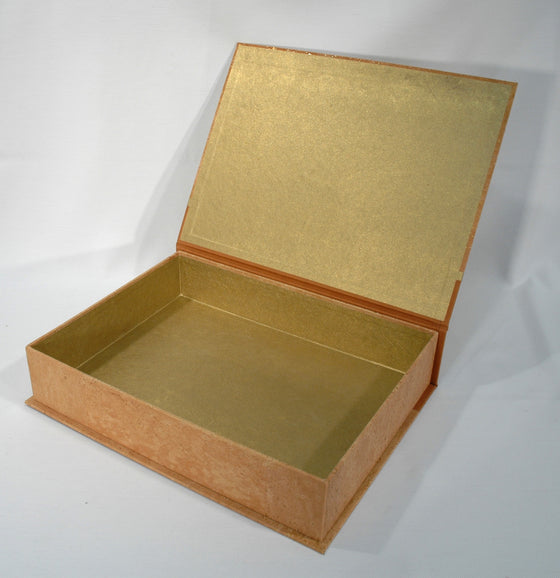 Box Hinged Lid Large - Corkskin Gold Patches