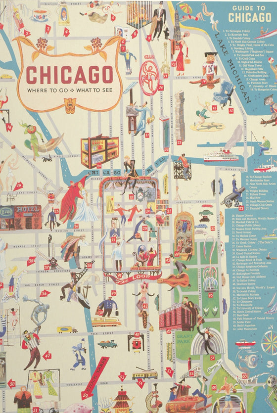 Florentine Print Map of Chicago Guide