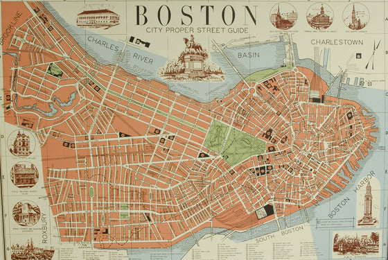 Florentine Print Map of Boston Street Guide