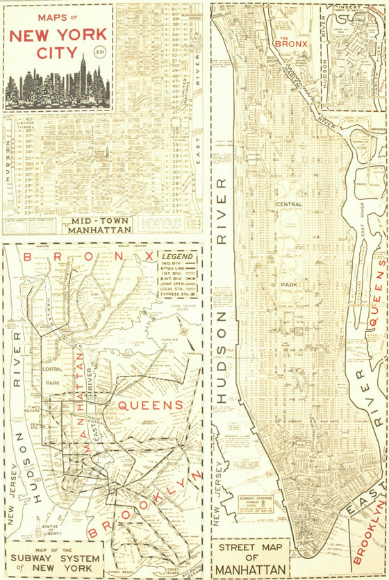 Florentine Print New York City 3 Maps