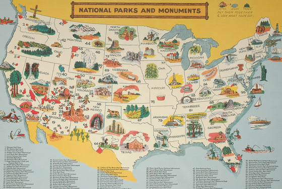 Florentine Print Map of National Parks