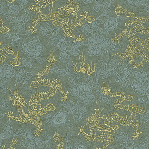 Lokta Print Golden Dragons on Celadon