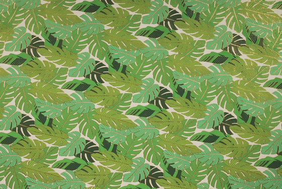 Indian Print Tropical Leaves Green