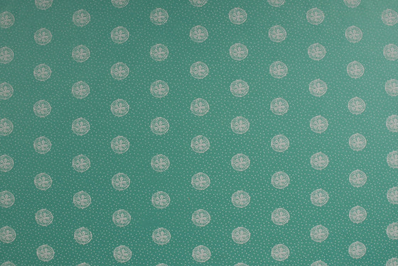 Indian Print Sand Dollars - White on Sea Green