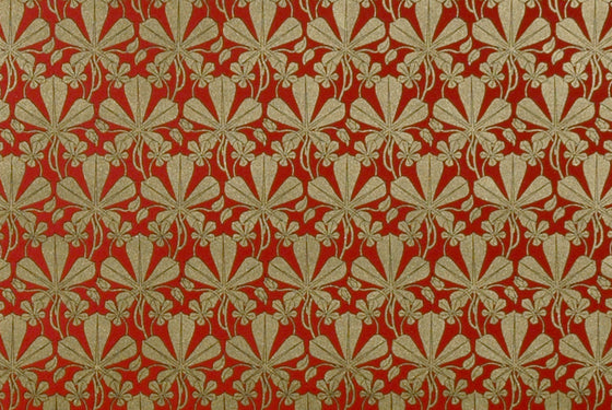 Florentine Print Liberty Leaves Gold Red