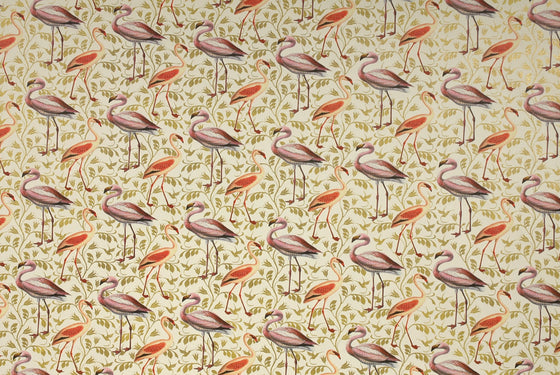Florentine Print Flamingoes / Gold Vines