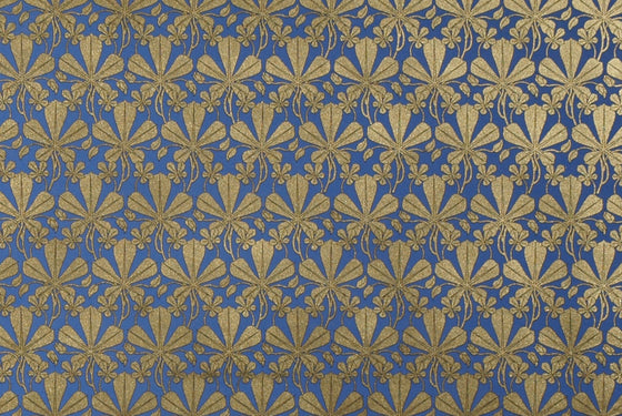 Florentine Print Liberty Leaves Gold Blue
