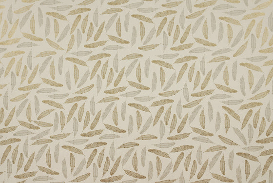 Florentine Print Feathers Gold Grey
