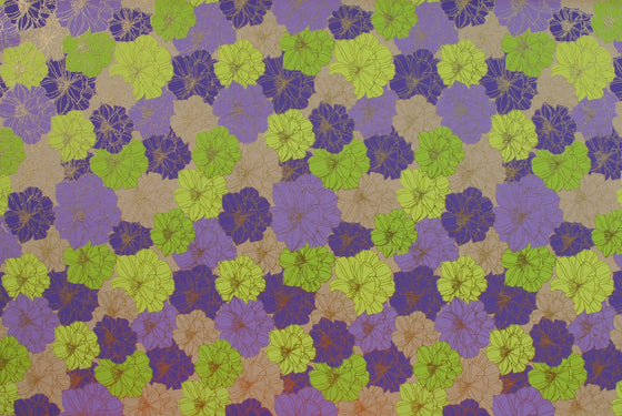 Indian Print Flower Power Purple & Lime