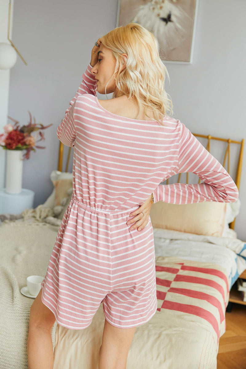 Glory Of Love Striped Knitting Romper