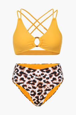Orange And Leopard Crossback Bikini Set