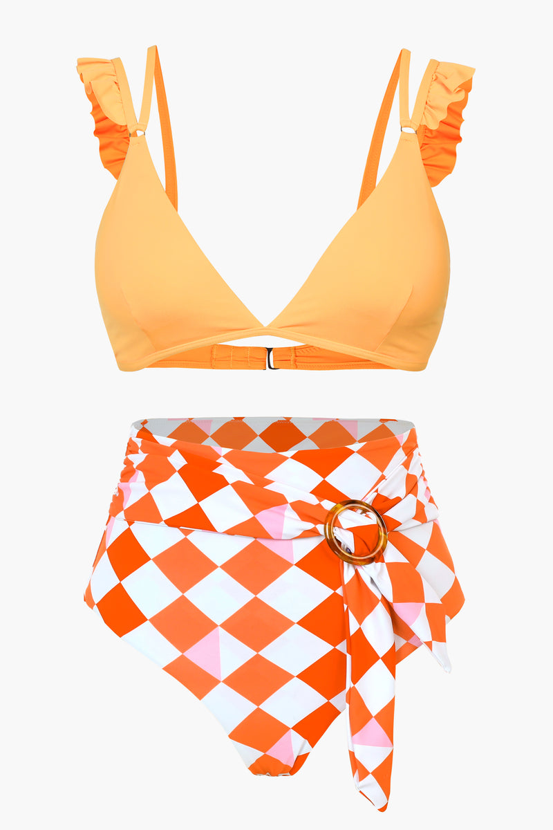 Orange and Plaid Ruffled Bikini Set