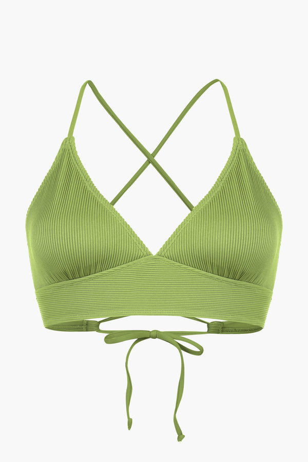 Ribbed Green Bralette Side Tie Bikini Top