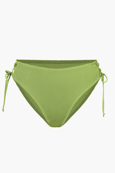 Ribbed Green Bralette Side Tie Bikini Bottom