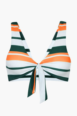 Front-knot Striped Bikini Top
