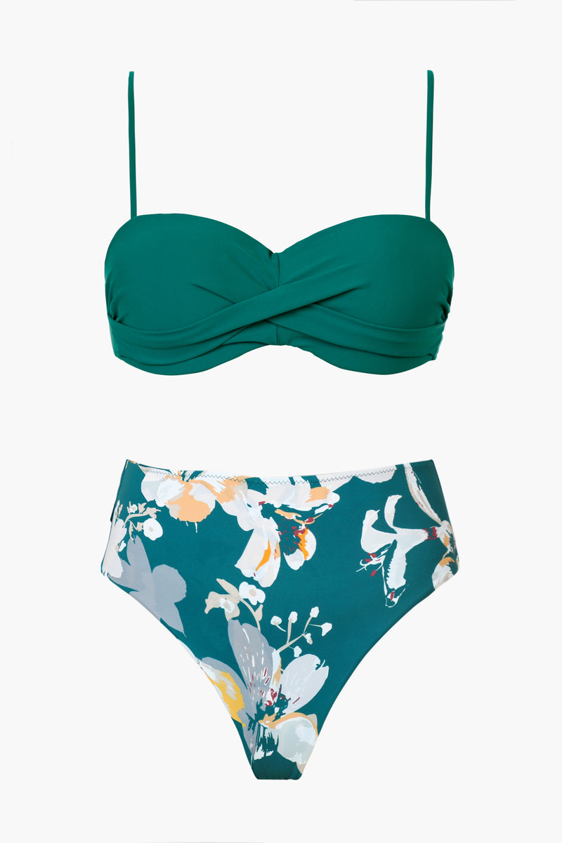 Green And Floral Molded Cup Bikini Set