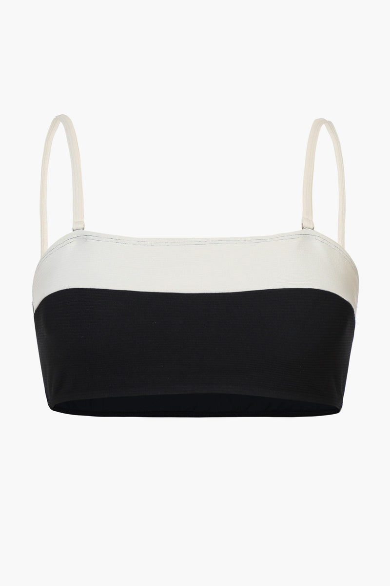 Beige and Black Colorblock Bandeau Bikini Top