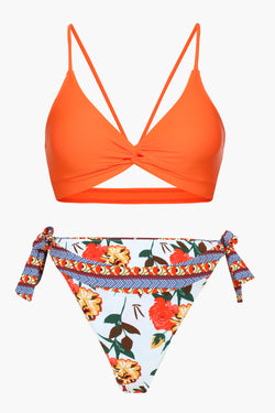 Orange And Floral Tie-side Bikini Set