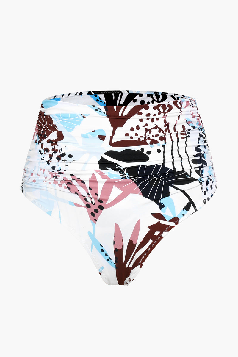 High-waisted Floral Ruched Bikini Bottom