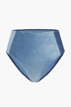 Blue Twisted Front Velvet Bikini Bottom