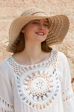 Foldable Solid Hollow Lace Straw Floppy Hat