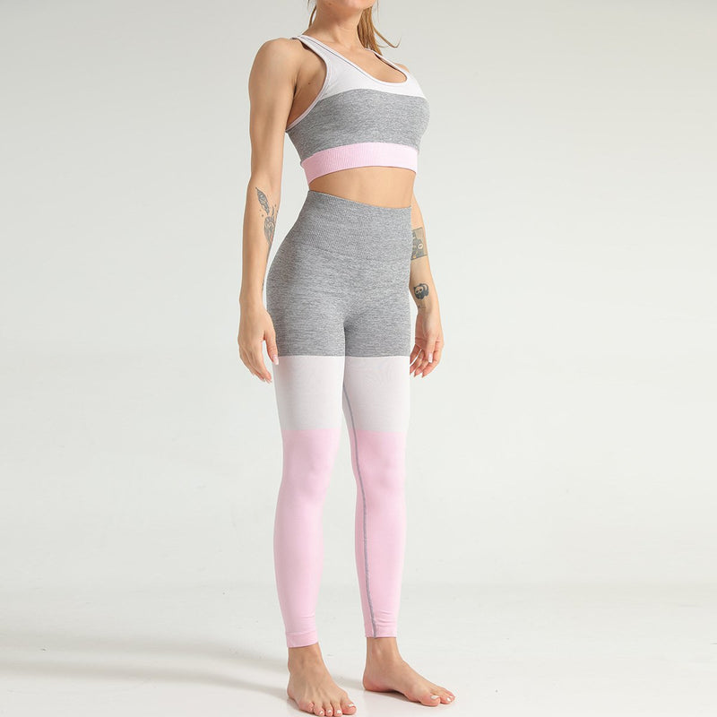 Color-block High Waisted Fitness Set