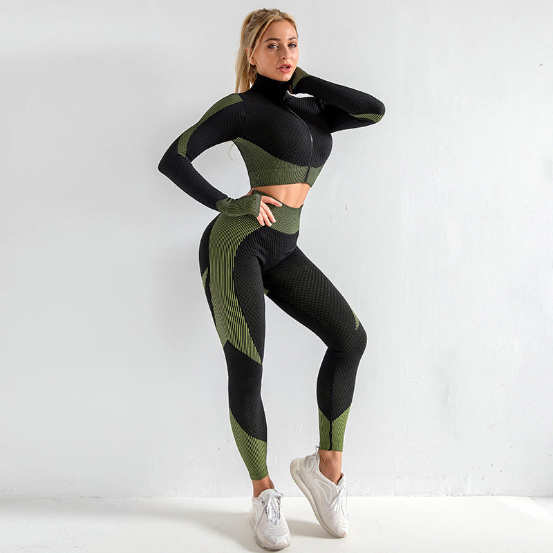 Zipped Long Sleeve Butt-lifting Pinky Set