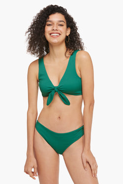 Ribbed Front Knotted Triangle Bikini Set