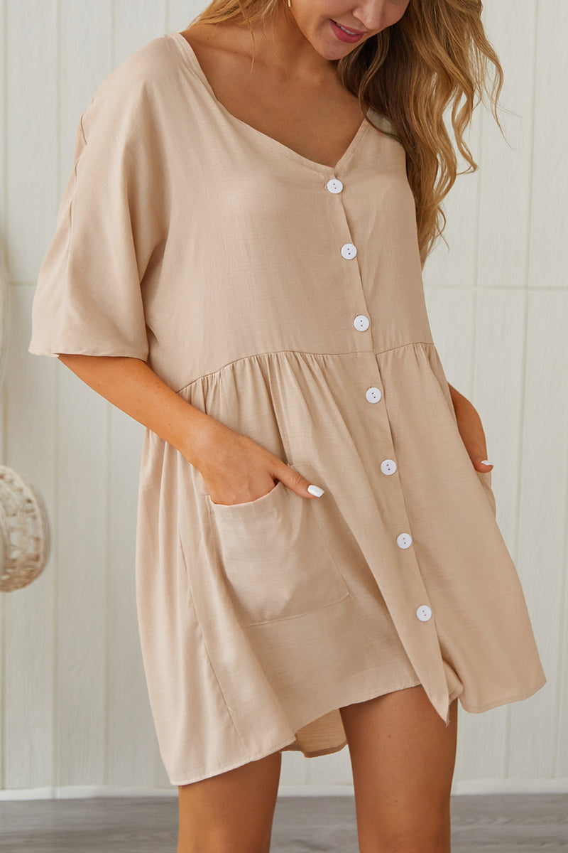 Freestyle V Neck Casual Homewear Dress