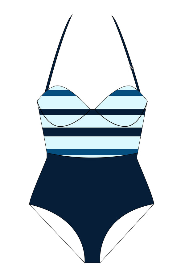 Navy Blue Stripe and Black Block One-Piece Swimsuit