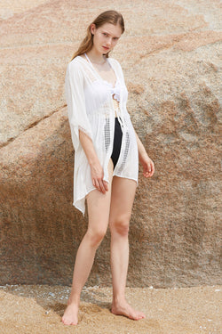 Lace Deep Plunging Neckline Tunic Cover up