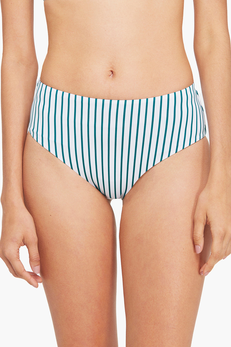 One Shoulder Striped High Waisted Bikini Bottom