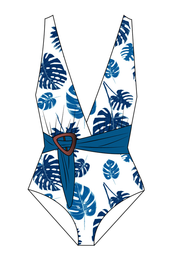 Blue Palm Leaf Belted One-piece Swimsuit