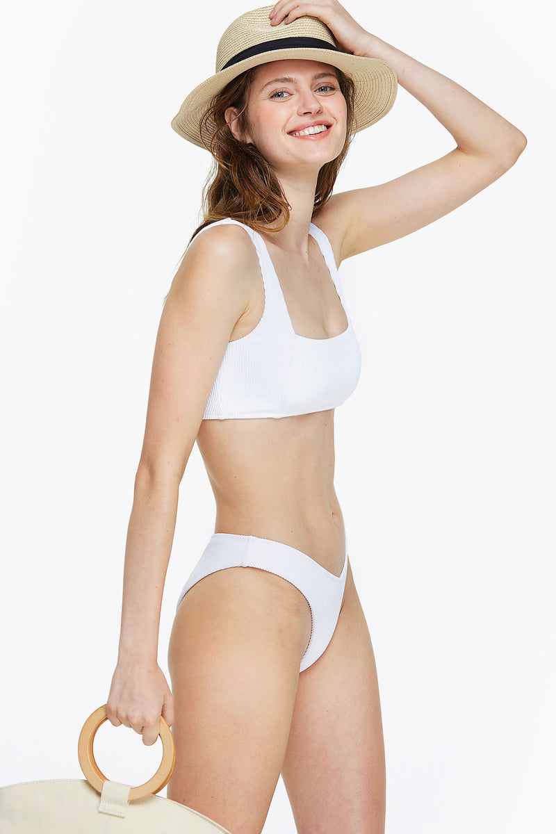 Ribbed Wide Band Bandeau Bikini Set