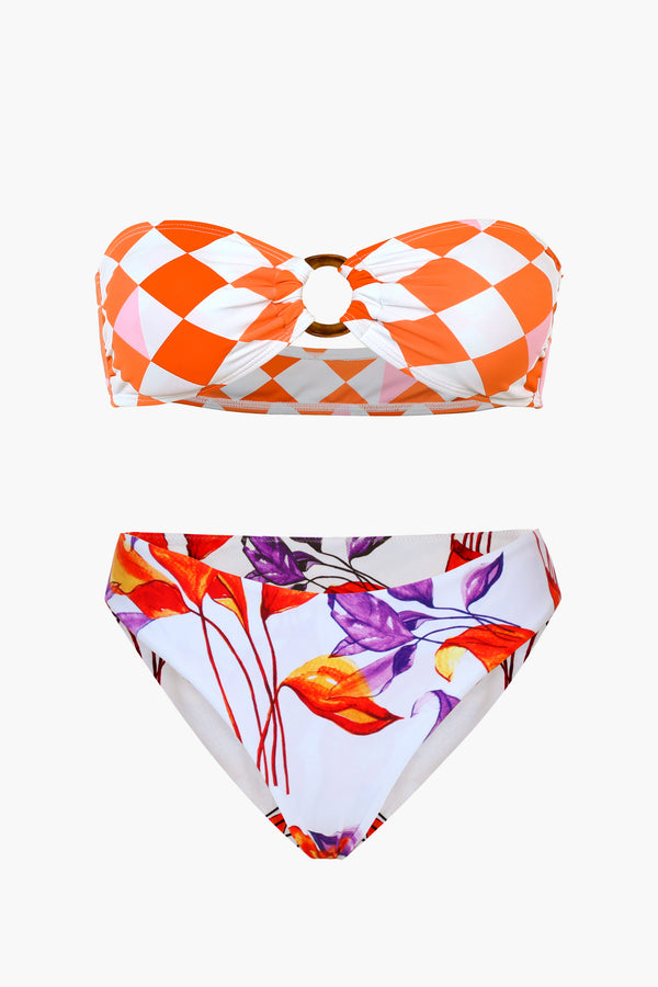 Plaid And Floral Bandeau Bikini Set