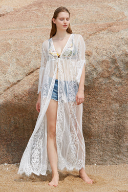 Open Front Crocheting Maxi Dress Cover up