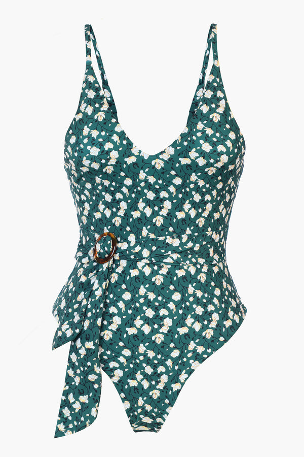 Retro-inspired Green Floral Print One Piece Swimsuit