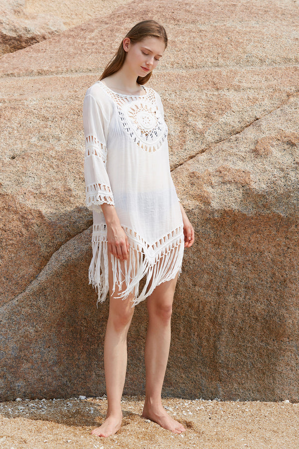 Leisure Crochet Cover up With Tassels