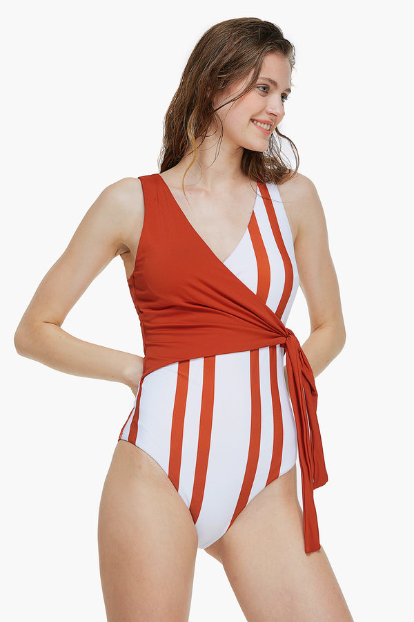 Red And Striped One-piece Swimsuit