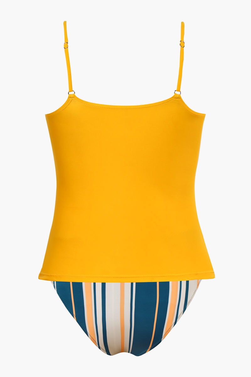 <Summer Haze>Yellow Ruched Tankini Set