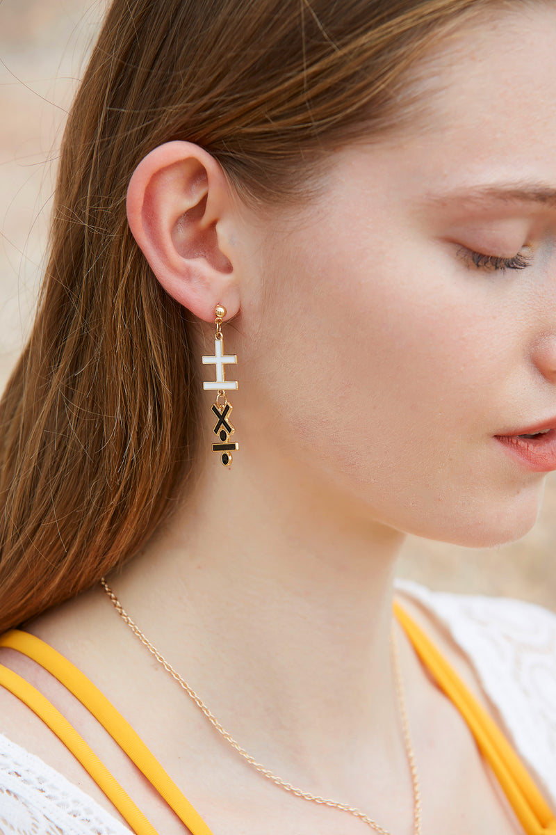 Black and White Simple Math Symbols Earring