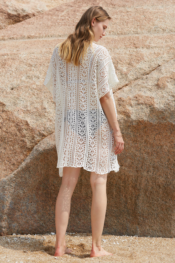 White Hollow Crochet Tunic Cover up