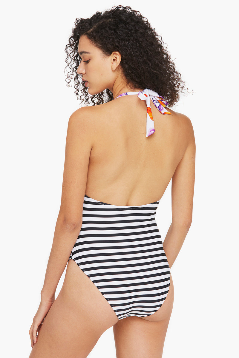 Floral and Striped One-piece Swimsuit