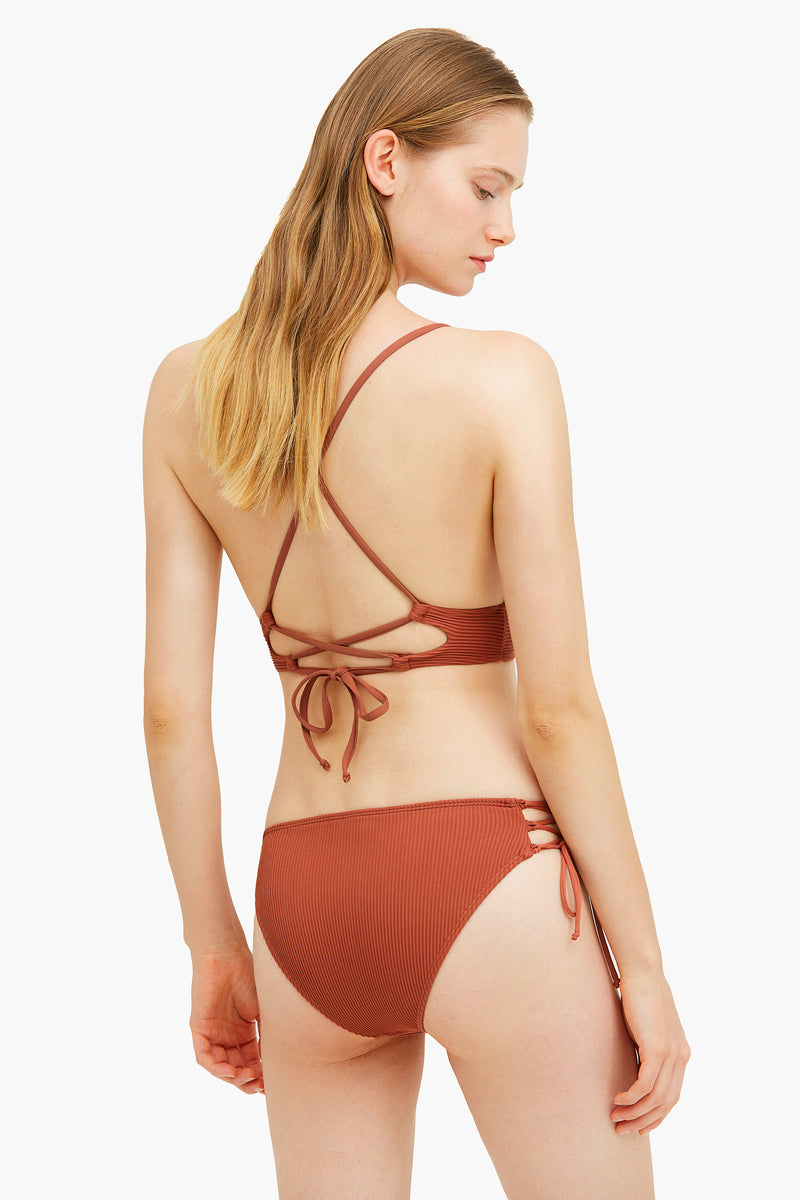 Ribbed Red Side Tie Bikini Bottom